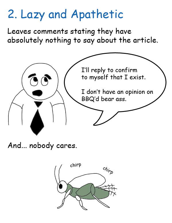5 Types of Commentors - 2. Lazy and Apathetic