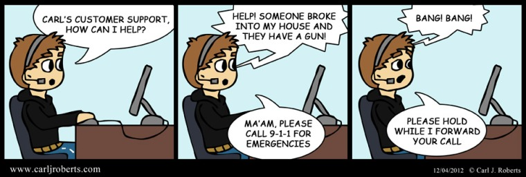 Customer Support Comic - Emergency call goes wrong.