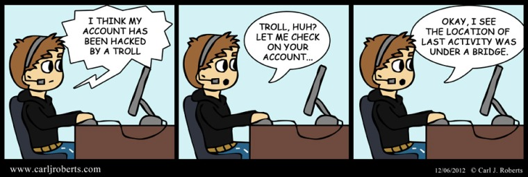 Carl finds the location of a hacker troll.